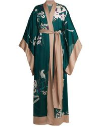 Carine Gilson - - Floral Print Silk Satin Kimono Robe - Womens - Green Print - Lyst