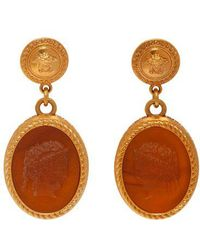 Versace - Cameo Gold-tone Brass Dropped Earrings - Lyst