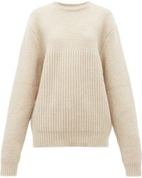 Raey Contrast-panel Chunky-knitted Wool Sweater - Natural