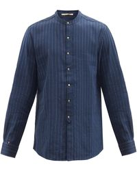 Péro Chemise en lin à col droit et fines rayures - Bleu