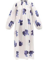 Emilia Wickstead セオドラ フローラル コットンナイトドレス - ブルー