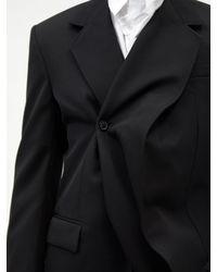 Y. Project アシンメトリー バージンウールツイルジャケット - ブラック