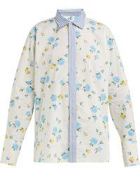 Golden Goose Deluxe Brand フローラルプリント コットンポプリンシャツ - ブルー