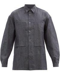E. Tautz Lineman Exaggerated-pocket Denim Shirt - Blue