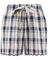 Innika Choo Wilma Scalloped-cuff Checked Linen Shorts - Blue
