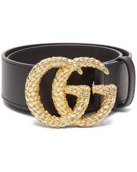 Gucci GG Wheat-effect Logo Wide Leather Belt - Black