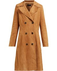 Nili Lotan Trench-coat en daim à double boutonnage - Marron