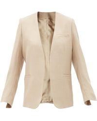 Totême Jumbo Collarless Wool-blend Twill Jacket - Natural