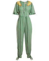 Adriana Degreas - - Banana Appliqué Striped Jumpsuit - Womens - Green Stripe - Lyst