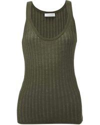 Gabriela Hearst Nevin Pointelle-stitched Cashmere-blend Tank Top - Green
