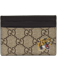 Gucci GG Supreme Tiger-print Canvas Cardholder - Brown
