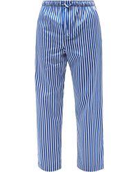 Derek Rose ウェリントン ストライプ コットンパジャマパンツ - ブルー