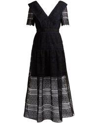 Self-Portrait Spiral-lace Midi Dress - Black