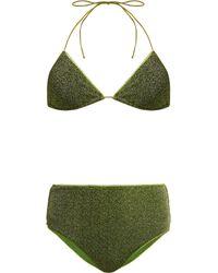 Oséree Lumière Metallic Triangle Bikini - Green