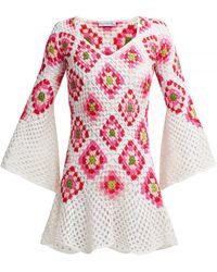 MY BEACHY SIDE Bisou V-neck Crocheted-knit Cotton Midi Dress - Red