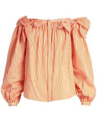 Maison Rabih Kayrouz - Off-the-shoulder Striped Cotton Top - Lyst