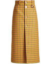 Balenciaga - Checked Button-front Pencil Skirt - Lyst