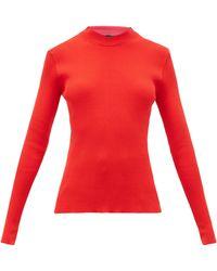 La Fetiche Albini Mock-neck Rib-knitted Cotton Sweater - Red