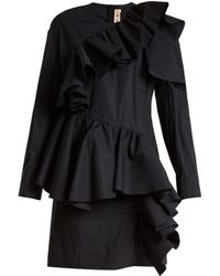 Marni - Gathered Ruffle Long Sleeved Cotton Mini Dress - Lyst