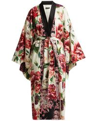 Dolce & Gabbana - Peony And Rose-print Charmeuse Kimono Coat - Lyst