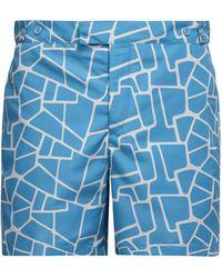 Frescobol Carioca Caminho-print Tailored Swim Shorts - Blue