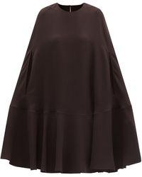 Valentino Silk-cady Cape Dress - Brown