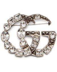 Gucci - Gg Logo Brooch - Lyst