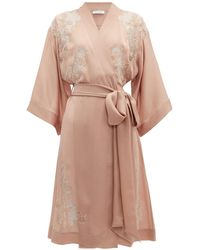 Carine Gilson - Lace Trimmed Kimono Style Silk Robe - Lyst