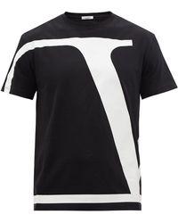 Valentino Vロゴ コットンtシャツ - ブラック