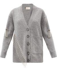 Christopher Kane Asymmetric Crystal-embellished Wool Cardigan - Gray