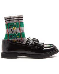 Fendi - Rockoko Sock-lined Leather Loafers - Lyst