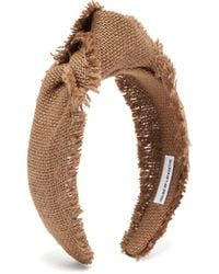 House of Lafayette Loulou Knotted Canvas-weave Headband - Brown