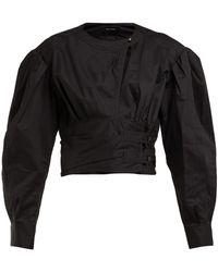 Isabel Marant Puff-sleeve Cotton-poplin Top - Black