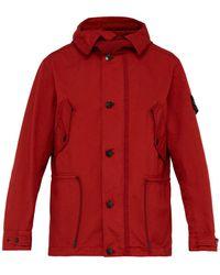 Stone Island Hooded Drawstring Field Jacket - Red