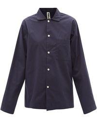 Tekla Chemise de pyjama en popeline de coton biologique - Bleu