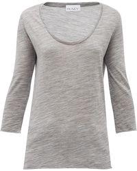 Raey T-shirt en jersey de laine à encolure échancrée - Gris