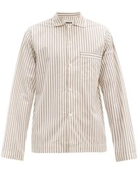 Tekla Striped Organic-cotton Pyjama Shirt - Natural