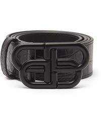 Balenciaga Bb クロコダイルパターンレザーベルト - ブラック