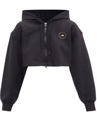 adidas By Stella McCartney Cropped Cotton-blend Jersey Hooded Sweatshirt - Black
