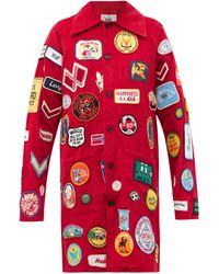 Bode Vintage-patch Corduroy Coat - Red