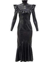 Saint Laurent ラッフルカラー ラテックスドレス - ブラック