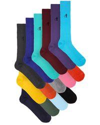 London Sock Company シンプリー サルトリアル コットンブレンドソックス X15 - マルチカラー