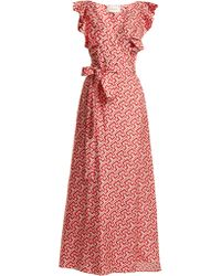 LaDoubleJ - Wedding Guest Domino Print Cotton Dress - Lyst