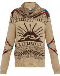 Faherty Sun & Waves Shawl-collar Intarsia Alpaca-blend Zip-up Cardigan - Natural