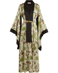 Adriana Iglesias - Anna Reversible Tropical Print Stretch Silk Robe - Lyst