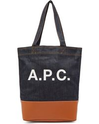 A.P.C. - Axel Japanese Denim Tote Bag - Lyst