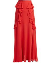 Elie Saab Ruffle Silk Blend Skirt - Red