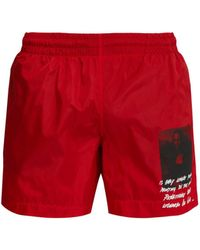 Off-White c/o Virgil Abloh Mona Lisa Swim Shorts - Red