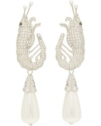 Shrimps Shrimp Crystal And Faux-pearl Clip Earrings - Multicolour