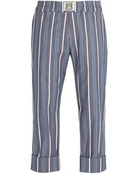 CONNOLLY Striped Cotton Blend Pants - Blue